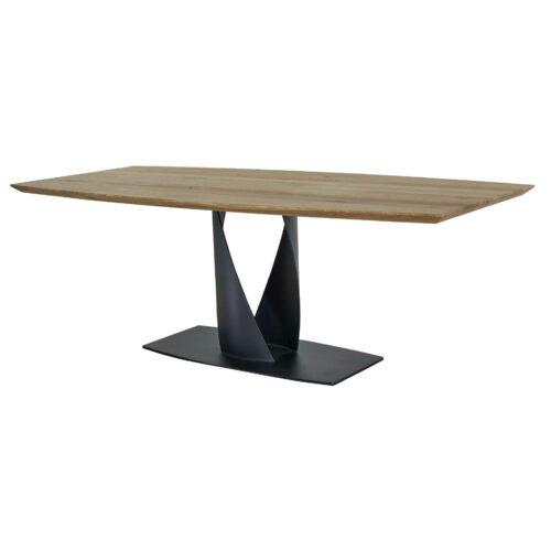 Contur 3100 Esstisch aus Eiche massiv geölt mit Stahlgestell gedreht schwarz matt lackiert