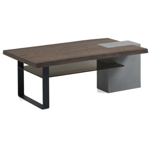 Hartmann LS 022519 Couchtisch aus Beton, Glas, Holz und Metall als Freisteller.