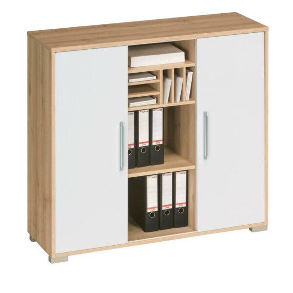 Trendstore Mein Büro Sideboard mit Korpus in Sonoma Eiche Dekor und weißen Fronten als Freisteller mit offenen Türen