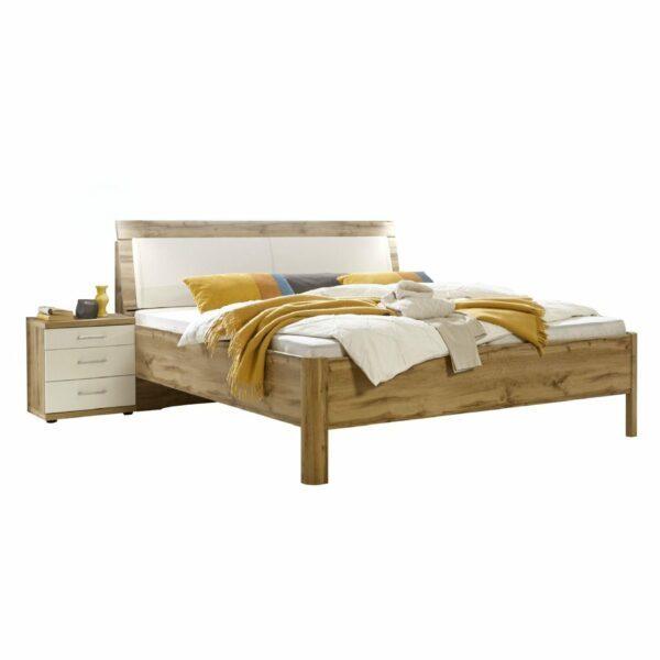 Trendstore LS 871017 Doppelbett mit Nachttisch in Balkeneiche Dekor und Weiß als Freisteller.