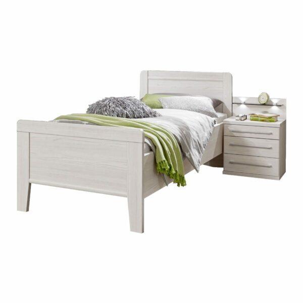 Trendstore LS 961017 Bett mit Nachttisch in Lärche Dekor als Freisteller.