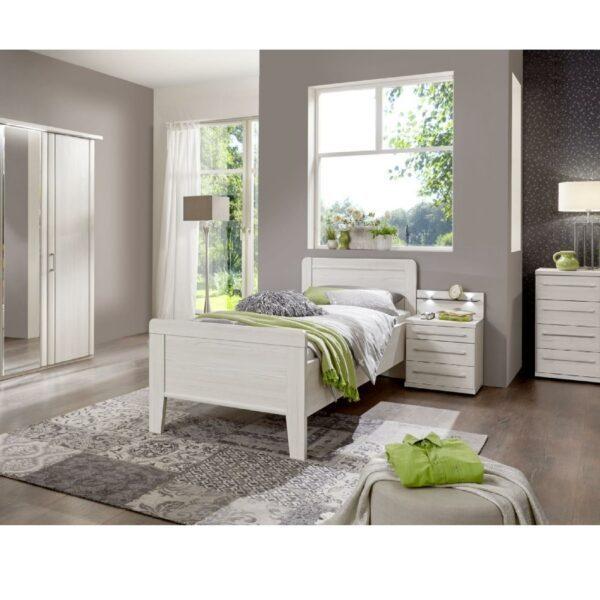 Trendstore LS 961017 Bett mit Nachttisch in Lärche Dekor als Wohnbeispiel.