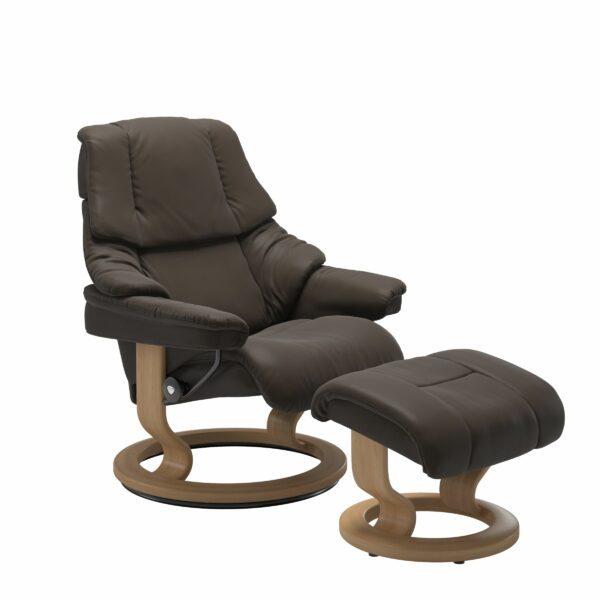 Stressless Reno Sessel Classic – Leder Batick Brown mit Untergestell Eiche