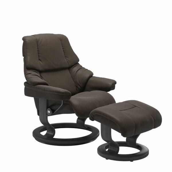 Stressless Reno Sessel Classic – Leder Batick Brown mit Untergestell Grau