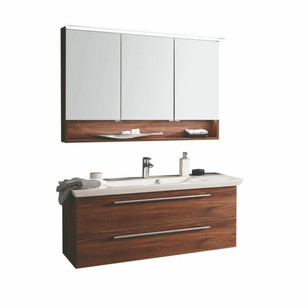 b-collection b-brace Badprogramm mit Waschtisch und Spiegelschrank als Freisteller.