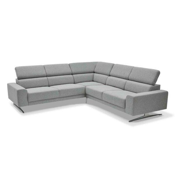 Musterring 4510 Sofa mit Bezug in Light Grey zeigt Kopfteilverstellung.