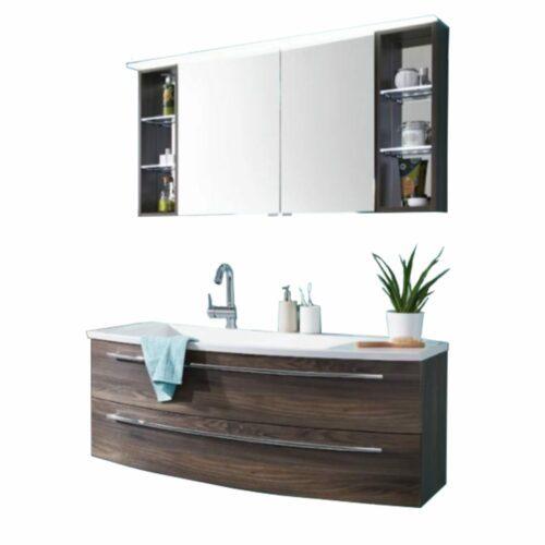 Puris Crescendo 4life Badprogramm in Hacienda schwarz mit Spiegelschrank und Waschtisch mit Unterschrank.