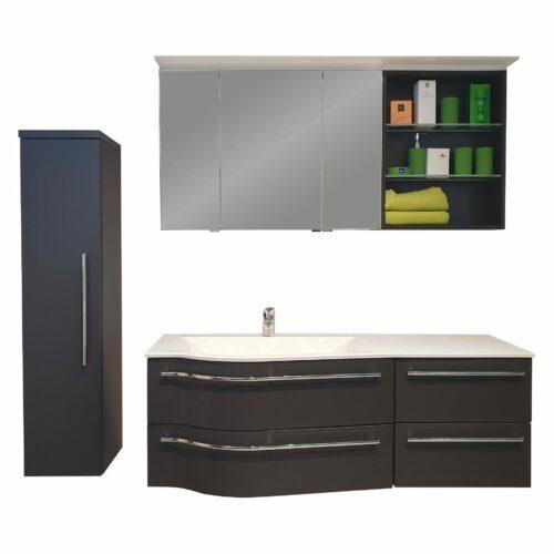 Puris Swing 4life Badprogramm in Cosmos grey mit Spiegelschrank mit Regal, Waschtisch mit Unterschrank und Mittelschrank.