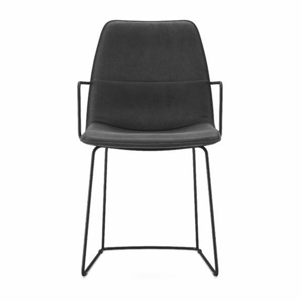 freistil by Rolf Benz Freistil 117 Stuhl mit Armlehne mit Lederbezug schwarzgrau