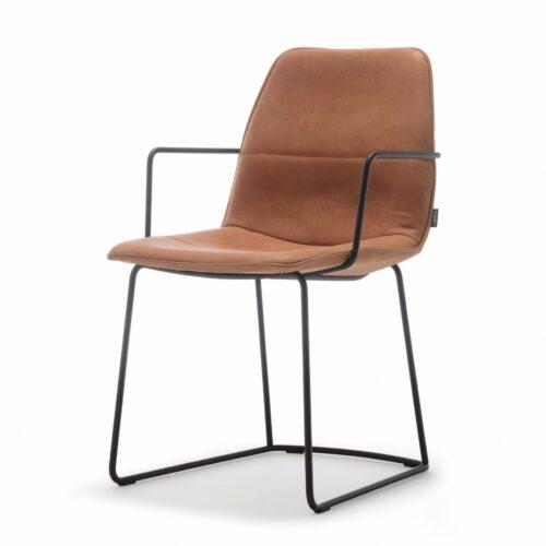 freistil by Rolf Benz Freistil 117 Stuhl mit Armlehne mit Lederbezug ockerbraun