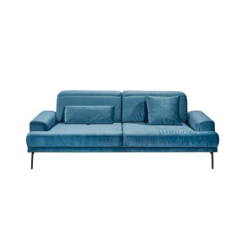 Musterring MR 4580 Sofa mit Bezug Velvet blue-grey in frontaler Ansicht.