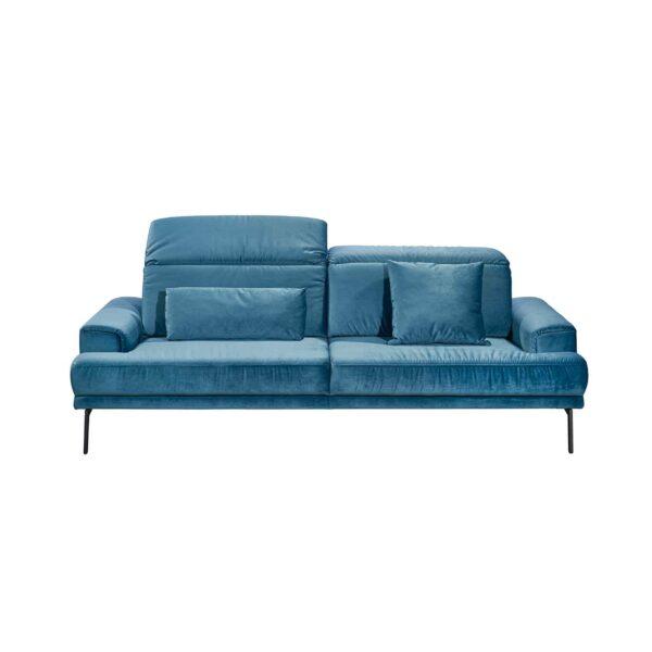 Musterring MR 4580 Sofa mit Bezug Velvet blue-grey in frontaler Ansicht zeigt Kopfteilverstellung.