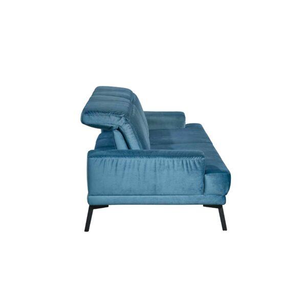 Musterring MR 4580 Sofa mit Bezug Velvet blue-grey zeigt Sitztiefenverstellung von der Seite.