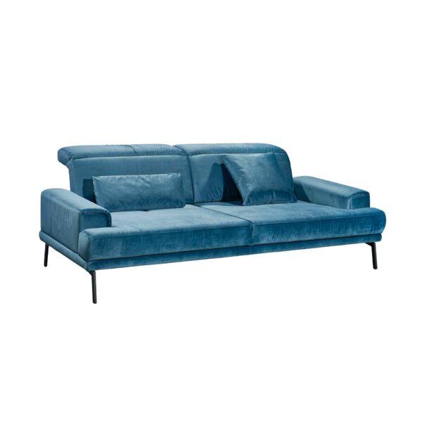 Musterring MR 4580 Sofa mit Bezug Velvet blue-grey in seitlicher Ansicht.