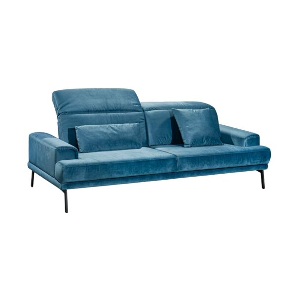 Musterring MR 4580 Sofa mit Bezug Velvet blue-grey in seitlicher Ansicht zeigt Kopfteilverstellung.