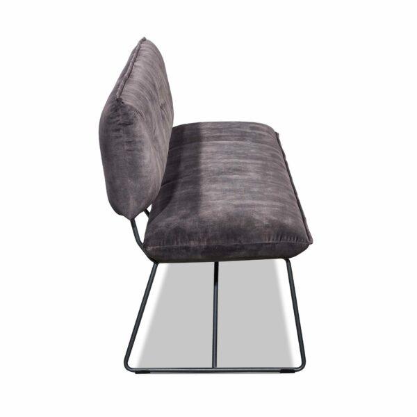 Seitenansicht der Sitzbank Pinero mit Metall-Kufengestell in Charcoal grey pulverbeschichtet