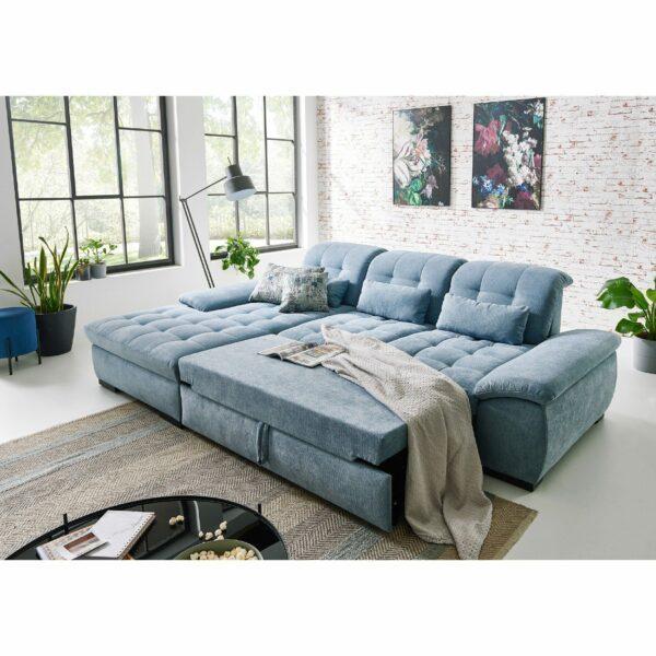 PlanSofa Samos Sofa in Detailansicht Bettfunktion als Wohnbeispiel.
