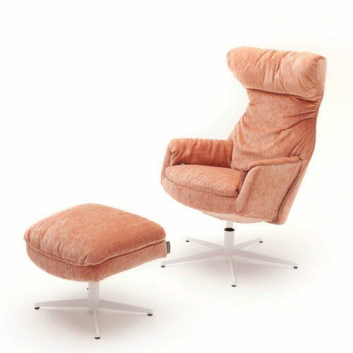 Raum.Freunde Kian Sessel mit Hocker in Bezug Elyot salomon und Polsterung Lux-Komfort