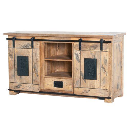 Trendstore Garbi TV-Board mit zwei Türen und einer Schublade aus massivem Mangoholz mit Metallbeschlägen in seitlicher Ansicht.