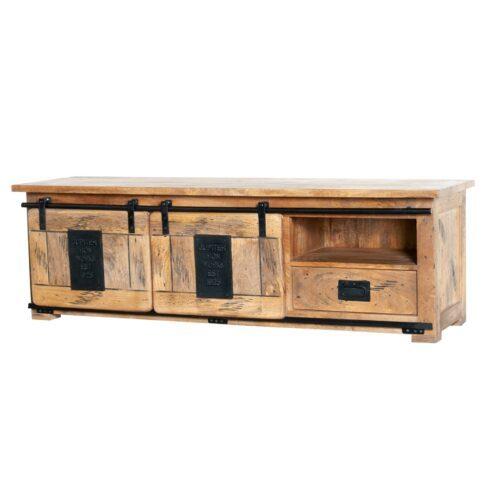 Trendstore Garbi TV-Board mit zwei Schiebetüren und einer Schublade aus Mangoholz mit Metallbeschlägen als Freiseller.