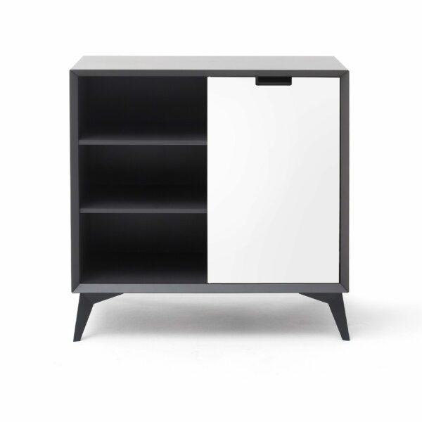 Trendstore Madina Highboard mit vier Schubladen und beidseitig lackierter Türe - hier die weiße Seite außen.