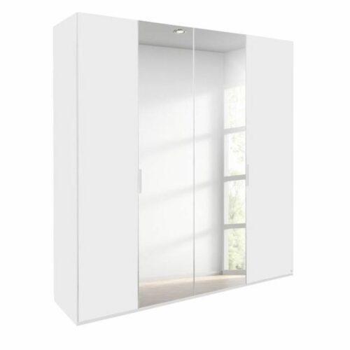Trendstore Rovero Drehtürenschrank in Weiß mit Spiegeltür als Freisteller.