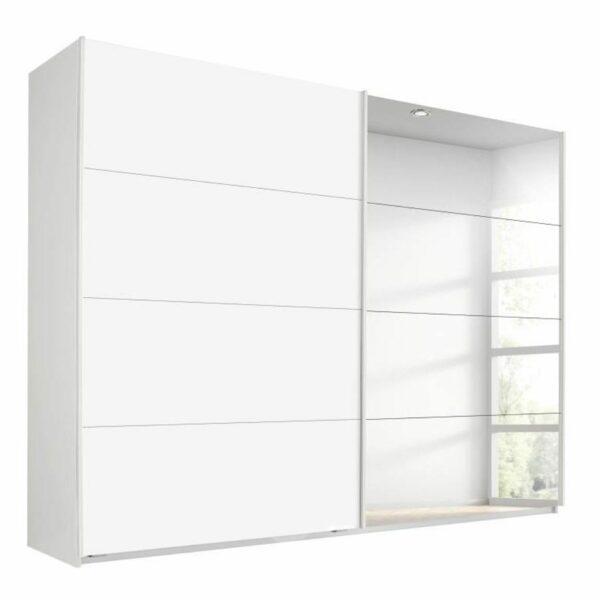 Trendstore Rovero Schwebetürenschrank in Weiß mit Spiegeltür als Freisteller.