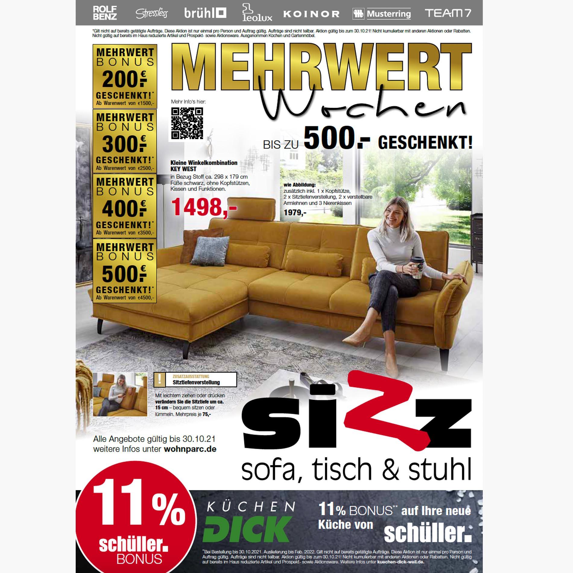 KW41 Mehrwert-Wochen bei SIZZ - Sofa, Tisch & Stuhl